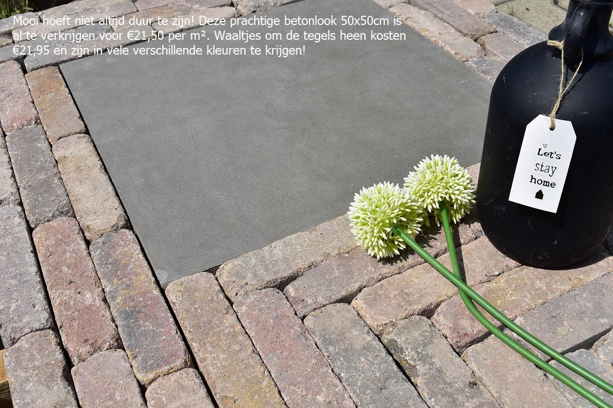 Grijze Grote Tuintegels.Grote Tegels In Combinatie Met Waaltjes Tuin Inspiratie Trends